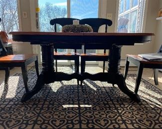 BLACK WITH NATURAL TOP!                                      REFRACTORY(HIDDEN LEAVES) FARM TABLE WITH 6 CHAIRS.