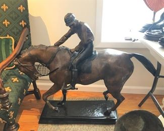 Bronze horse & jockey for yard or home