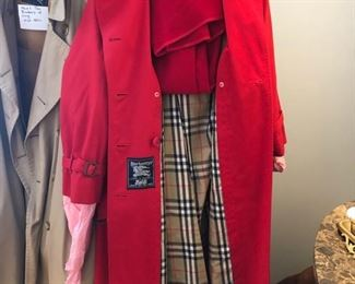 Red Burberry raincoat