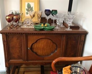 Antique sideboard & glassware