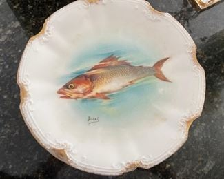 Limoges Fish set - Platter with 10 plates