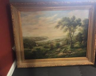 Peter Green oil painting, Pastoral scene