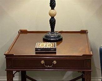 Berman Lamp Baker Furniture side table (26W x 26D x 24.5H)