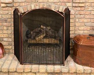 fireplace screen & copper shovel - copper boiler is not part of sale