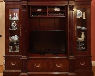 Councill Carnegie Hill Collection mahogany entertainment center with lighted side display shelves (97.5W x 27.25D x 82.75H) Gorgeous!
