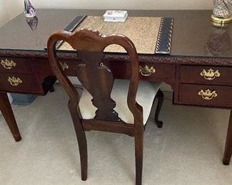 Baker Furniture desk with glass top (60W x 27D x 30.5H) and Desk chair