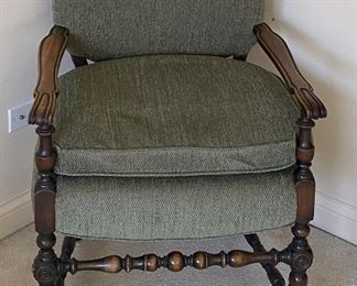 green vintage upholstered chair