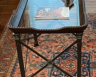 Glass/metal coffee table (37.5Lx23Wx24.5H)