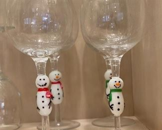 snowman stem wine glasses