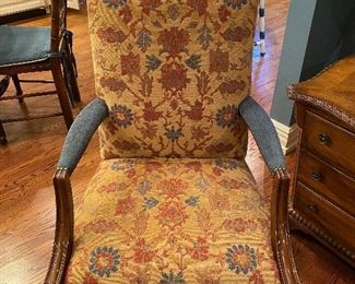 upholstered chair (2 available) vintage kilim fabric
