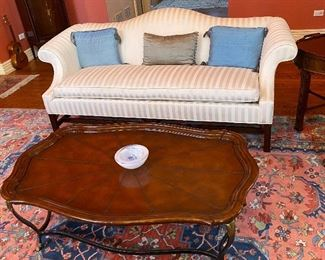 Ethan Allen couch (75x32x19H to seat) LaBarge leather top cocktail table (50x32x17H))