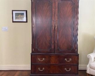 Henkel Harris mahogany armoire - gentleman's chest  (45.5W x 24.5D x 80H)