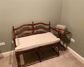 Double bench with ladder back and rush seat bench