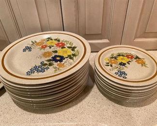 "Stone Village ""Tropicana"" dish set 10 dinner 9 salad 8 cereal 2 serving bowls 1 serving plate"