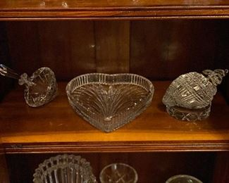 more crystal pieces including Waterford shell