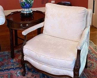 White chair (29Wx25Hx27D) and Baker Historic Charleston collection round side table