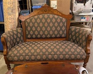 Antique victorian reupholstered settee (56.5W x22.5 x 18H to seat)