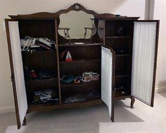 Antique display cabinet (60W x 57H x 14D)