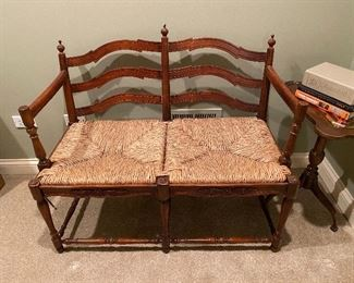 Bench with rush seat and cushion (38.5W x 19D)