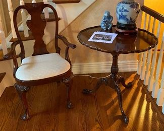 Wood side chair Baker Furniture flip top table (30W x 30H)