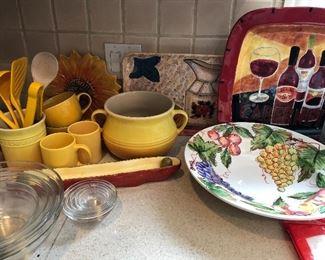le creuset ceramic wear & misc painted kitchen decor