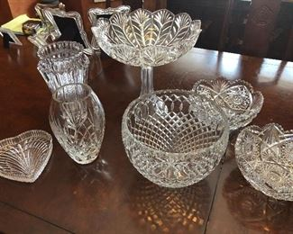 crystal cut glass bowls, vases