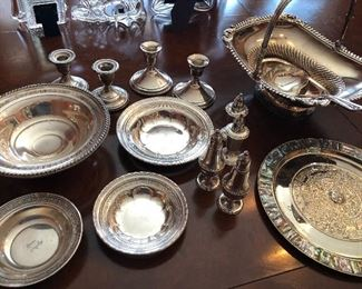 sterling silver bowls, candle holders, salt & peppers