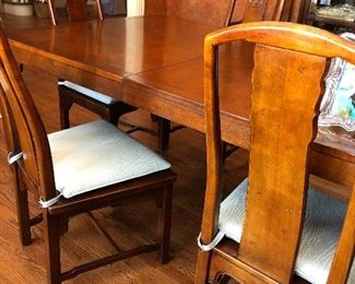 Baker dining table with Henredon Asian design solid wood dining chairs w/ cane seats