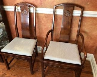 Henredon Asian design solid wood dining chairs with cane seat - 6 side chairs & 2 arm chairs