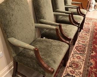 set 4 upholstered wood dining chairs