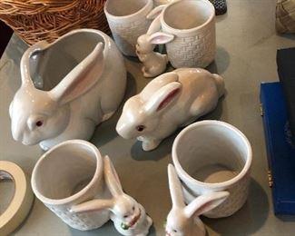 Fitz and Floyd ceramic rabbits / bunnies