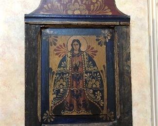 Vintage painted wood Virgin Mary