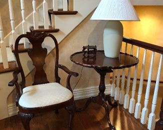 Baker chair and Historic Charleston collection tilt top pedestal table