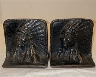 Vintage cast-iron Indian chief bookends