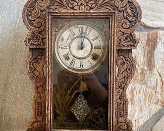 Antique pressed back Oak mantle clock