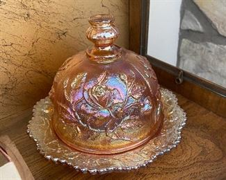 Imperial carnival glass butter dish small size