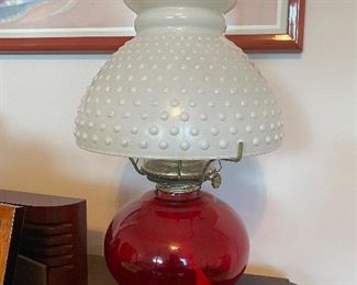 Ruby red oil lamp & white Hobnail shade