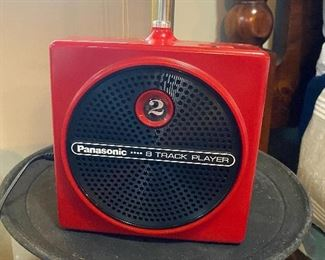 Red eight track tape player