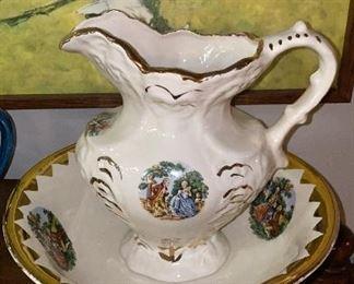 1868 image George and Martha Washington Antique Pitcher and Bowl wash basin set