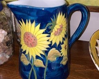 Pottery sunflower pitcher