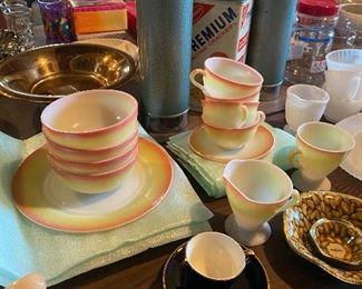 vintage Hazel Atlas Sunrise plates, bowls, cups & saucers