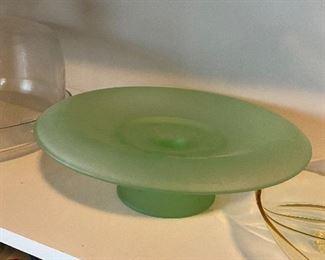 Green satin glass cake plate
