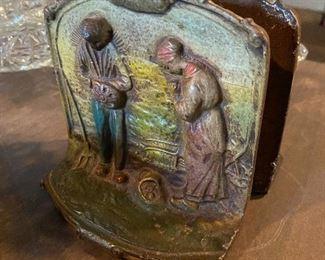 Antique Cast Iron book ends farmer & farmers wife