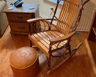 Amish Rustic Hickory & Oak Rocker Rocking Chair