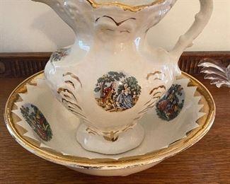 1868 George and Martha Washington Antique Pitcher and Bowl wash basin set
