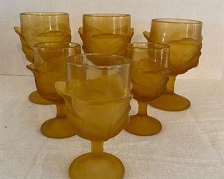 L.G. Wright Cabbage Leaf Pattern Amber Glass Goblet