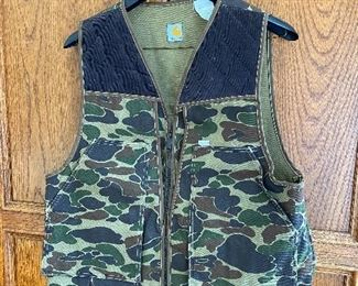 Vintage Carhartt Duck Camo Union Made USA Canvas Shooting Hunting Vest Large