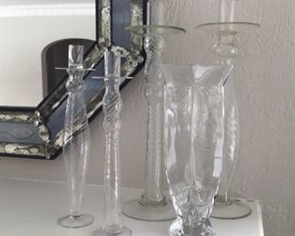 Beautiful blown glass candlesticks and vases. $25 each