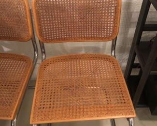 GAVINA marked 1960s  original cane tubular steel chairs 3 total $575 each