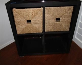 $45. Two sets of matching black cubbies with baskets  30x30x16